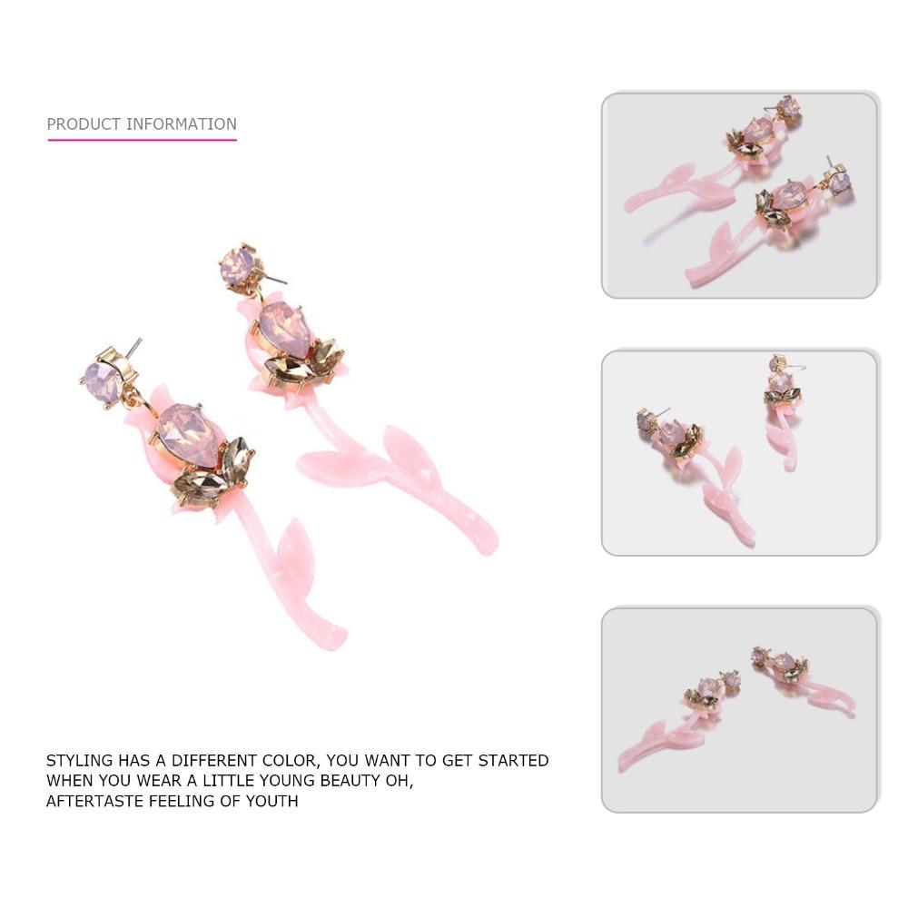 eManco trendy planter hengende dråpeøreringer for rosa akryl og - Mote smykker - Bilde 3
