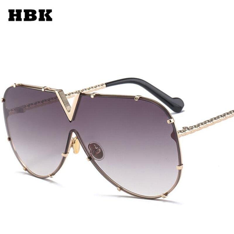 a42fe306e HBK Itália Top Óculos De Sol de Grandes Dimensões Para As Mulheres Tons de  Metal Quadro Gradiente Lente Marrom cor de Rosa Cinza Transparente  Primavera ...