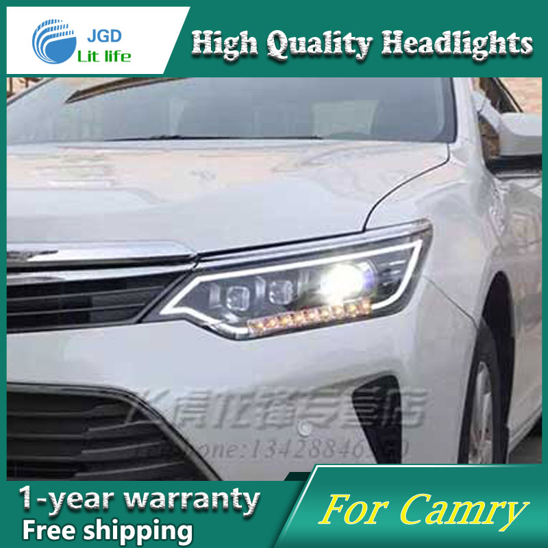 high quality Car Styling Head Lamp case for Toyota Camry 2015 2016 LED Headlight DRL Daytime Running Light Bi-Xenon HID car styling auto headlight headlamp for toyota corolla 2013 2014 2015 bifocal lens guiding light best quality daytime running
