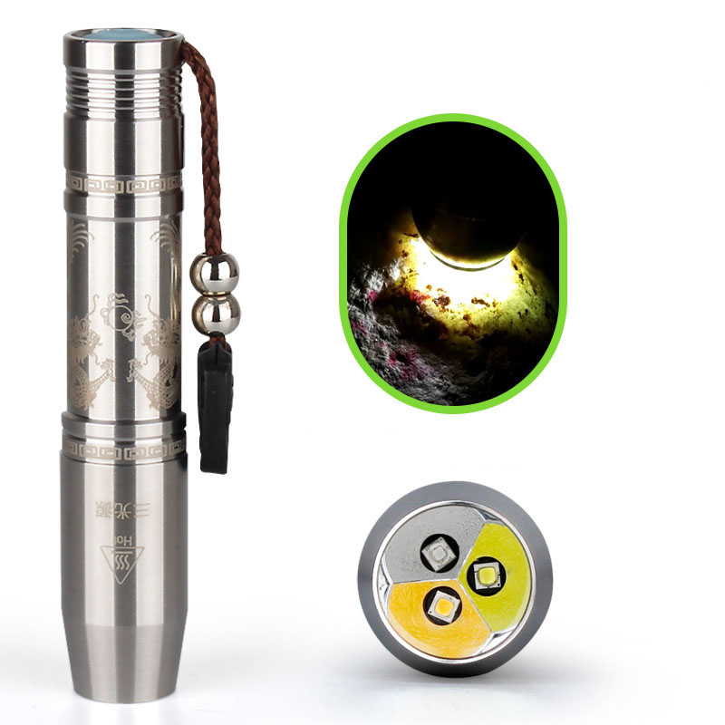 8 watts XPG-R5 3 IN 1 Jade LED Flashlight, White & Yellow & 365NM Lights Stainless Steel LED Torch for Gem, Stones Inspection white purple yellow light led flashlight stainless steel torch 18650 rechargeable uv torch olight jade identification page 3