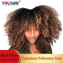Short Human Hair Wig Ombre Blonde Kinky Curly Lace Closure Wig For Women 180% 1b 4 27 Colored Wig Brazilian You May Remy Hair(China)