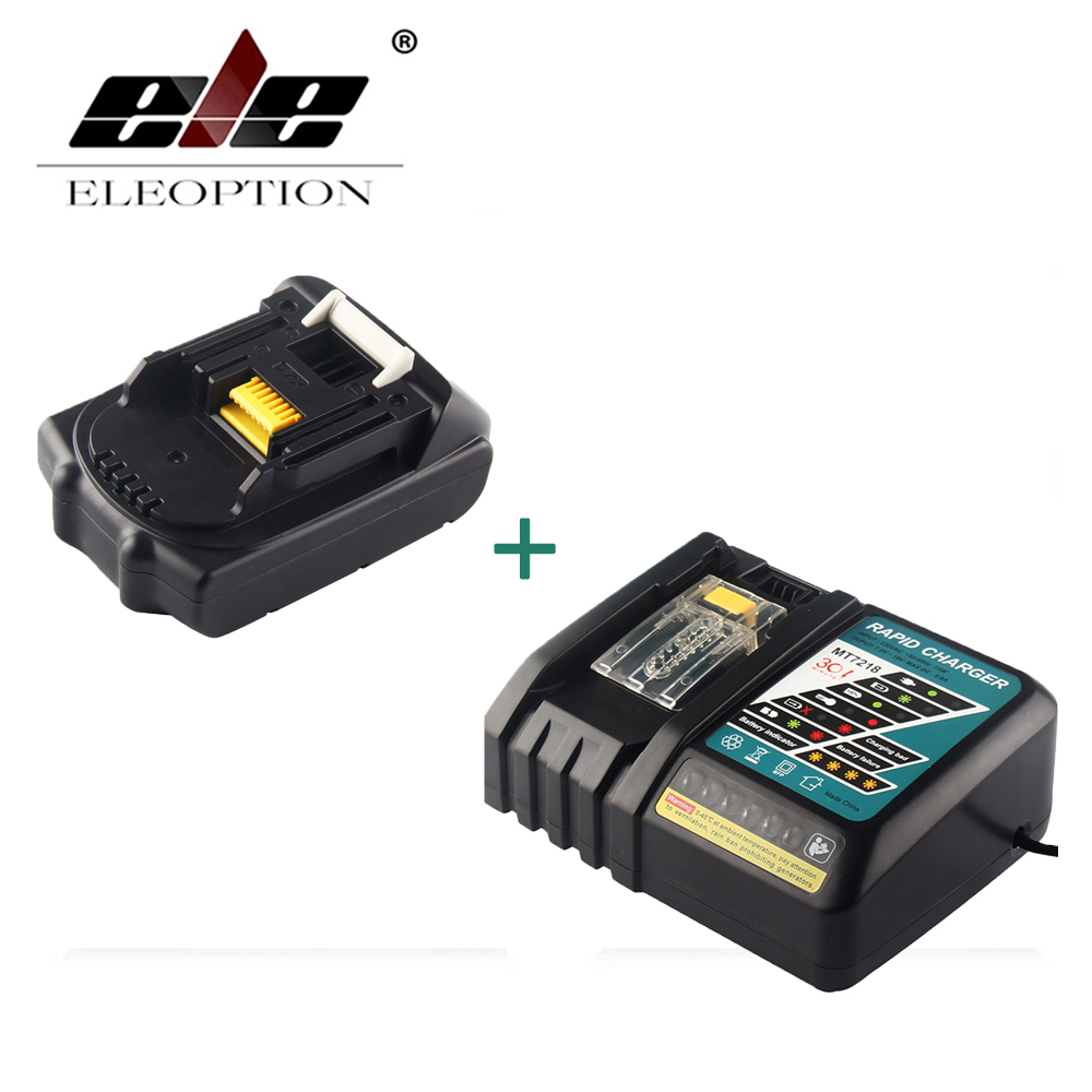 ELEOPTION 18V 2000mAh Li-ion Replacement Power Tool Battery For MAKITA 194205-3 194309-1 BL1815 + 7.2V-18V Charger replacement charger for bosch 7 2v 9 6v 12v 14 4v 18v 24v nicd nimh power tool battery vacuum cleaner