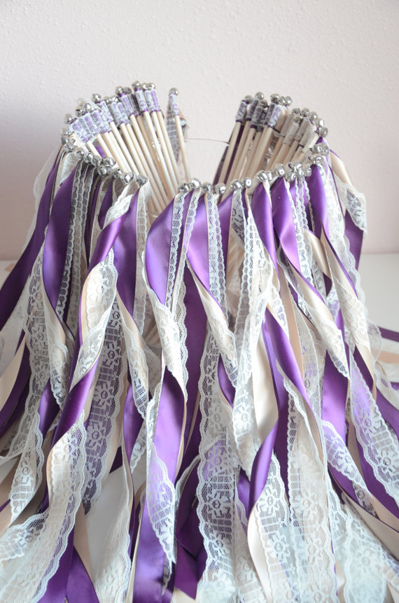 Lace And Purple Wedding Ribbon Wands Fairy Sticks Without Bells Streamers Bubbles Birthday Party Fall Outdoor T393 In Banners Confetti From