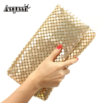 AEQUEEN 12 Colors Women Day Clutches Evening Bag Aluminum Mesh Envelope Flap Bags Sequined Long Chain Handbag Korean Clutch 2018