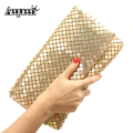 New 12 Colors Women Evening Bag Day Clutches Aluminum Mesh Envelope Flap Bags Sequined Long Chain Handbags Korean Fashion