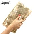 New 12 Colors Women Evening Bag Day Clutches Aluminum Mesh Envelope Flap Bags Sequined Long Chain Handbags Korean Fashion