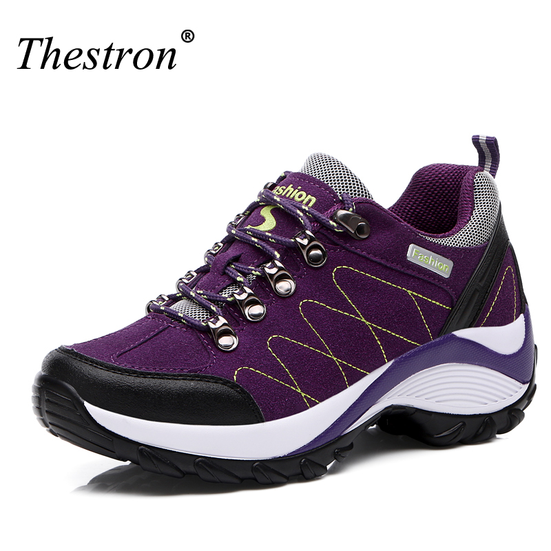 Women Hiking Shoes Height Increasing Climbing Mountain Shoes Women Waterproof Leather Outdoor Purple Red Black Girl Hiking Boots