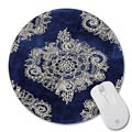 cream floral moroccan pattern on deep indigo ink prints Mouse Pad Small Size Round Mouse Pad Non-Skid Rubber Pad