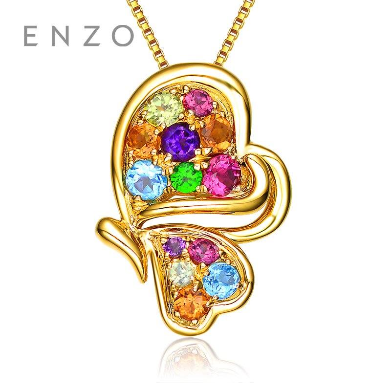 ENZO особое значение Драгоценный Кулон Бабочки естественные яркие кристалл с 14 К золотые модные Цветной драгоценных камней для Для женщин
