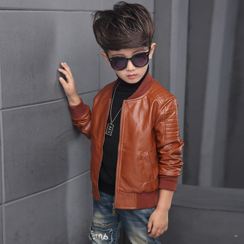 Kids jacket Boys Coats Autumn Spring PU Leather Jacket Children's Plus Velvet Warming Cotton Outerwear Baby Boys Thin  Clothing