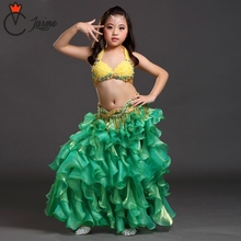 Belly Dance Costume Set for Children 3pcs Bra Belt and Skirt Kids Stage Performance Belly Dancing Clothes Oriental Outfit Girls new arrival 2017 belly dancing oriental dance costumes performance 3pcs bead set bra belt skirt belly dance costume set
