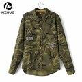 2016 Мода Длинным Рукавом mujers militar chaqueta Пальто Женщин Зеленый Военные Куртки Тонкий Вышитые Куртки Женщин Блузки Пальто