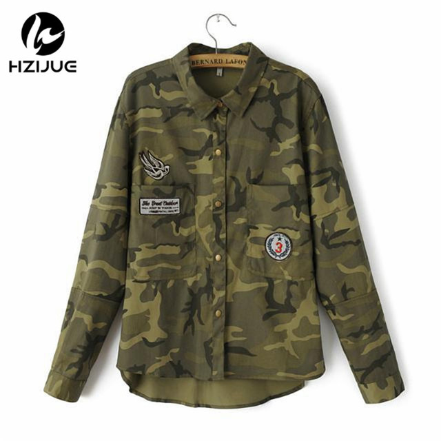 2016 Fashion Long Sleeve chaqueta militar mujers Coat Women Green Military Jackets Slim Embroidered Women Jacket Blouses Coats