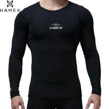 Мужская одежда с длинным рукавом Запуск сжатия рубашки осень-зима Баскетбол Обучение спортивные обтягивающие футболки высокие эластичные приятная