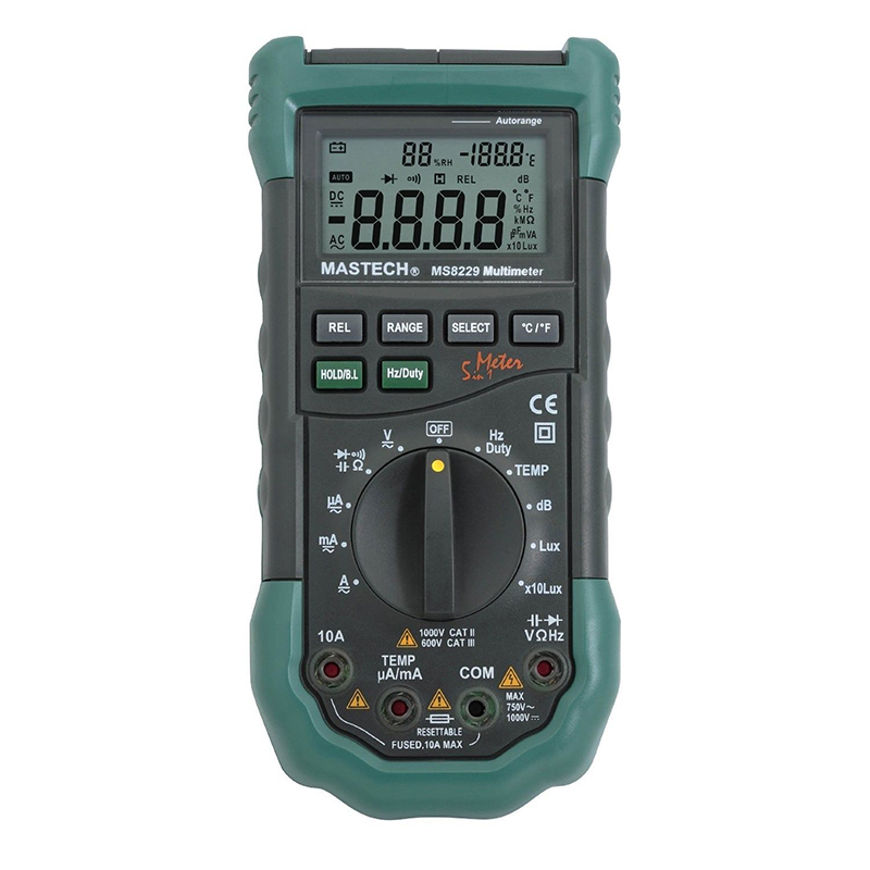 ФОТО Mastech MS8229 Digital Auto range Multimeter DMM Meter 5 in 1 Multitester Light Sound Level Temperature Humidity Tester