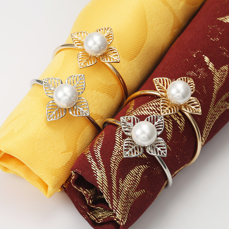 6 PCS model room Chinese style European hollowed out petals napkin ring wedding hotel pearl napkin