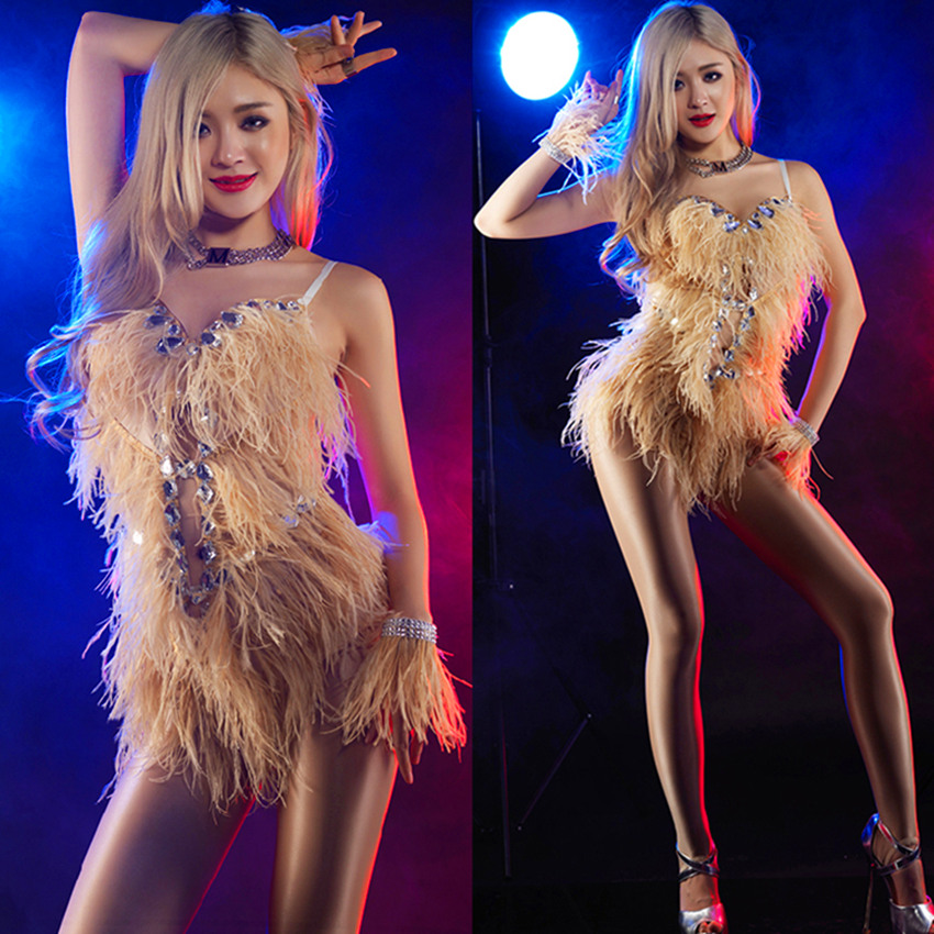 Uus 2016 Bar naissoost laulja DJ lava tants DS kostüüm seksikas Pole tants strutsi juuste kostüüm portree fotograafia kleidid