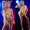Nuevo 2016 Bar cantante DJ danza de la etapa DS traje sexy Pole dance avestruz pelo retrato traje fotografía prom vestidos