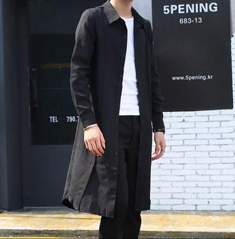 M-XXXL 2018 new linen thin section long-sleeved fashion shirt Korean hair stylist casual long shirt men