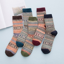 Sale 1Pair Autumn Winter Vintage Thick Wool Socks Mens Casual Long Tube socks National Cotton stripe Warm Boys