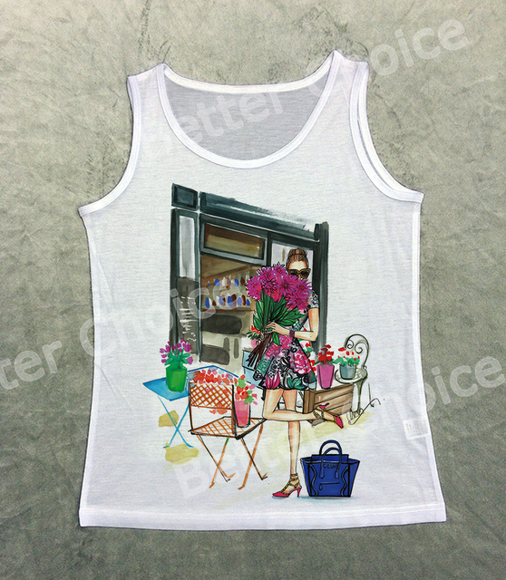 Track Ship+Vintage Printed Retro Cool Vest Tanks Tank Top Spring Fresh  Flower House Girl
