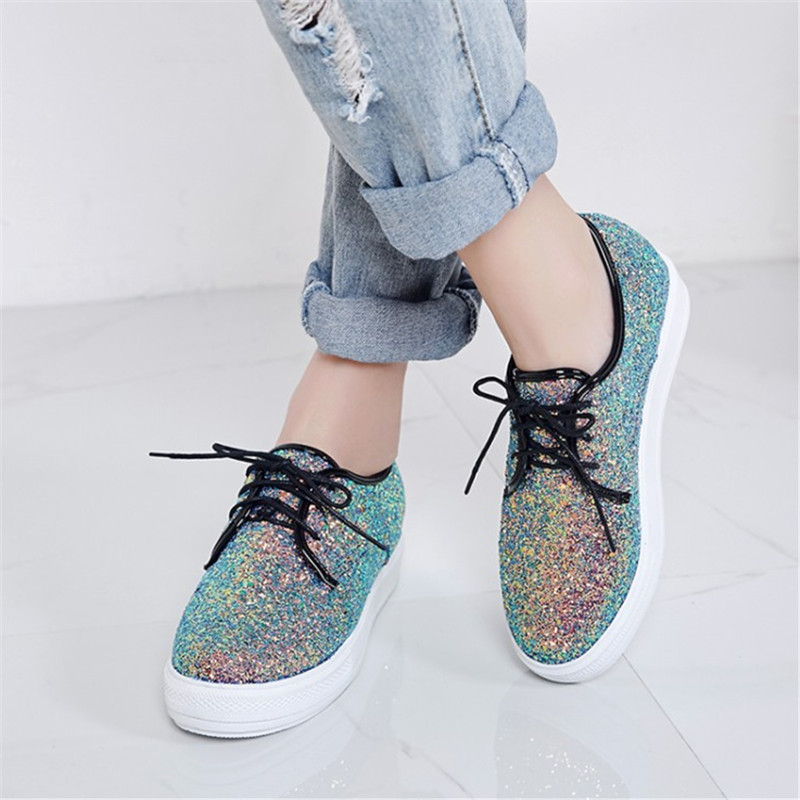 Plus size 34-44 new Fashion heavy-bottomed shallow mouth of Casual shoes Platform Bling women shoes Lace-Up pedal Loafers Shoes fashion casual low top shoes heavy bottomed muffin shoes celebrity same paragraph with gold silver trainer shoes free shipping