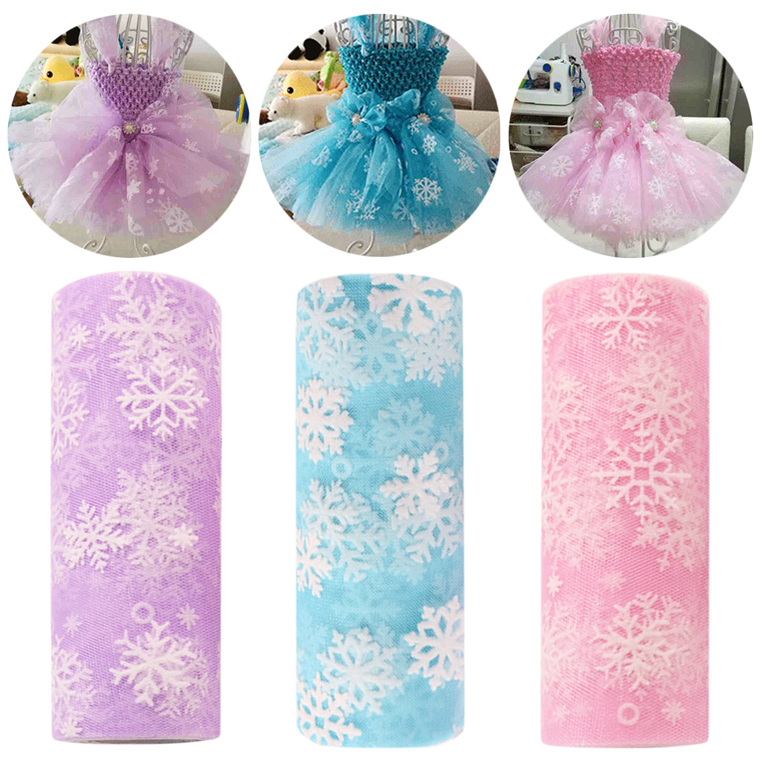 10 Yards Fashion Snowflake Printed Tulle Roll Fabric Ribbon DIY Toys For Wedding Party Decoration Tutu Skirt Gift Wrapping