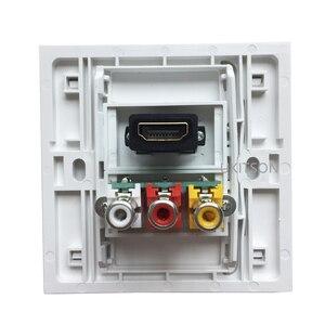 Image 2 - 화이트 컬러 HDMI2.0 3RCA 벽 패널 86mm 플레이트 오디오 비디오 플러그 소켓 여성 RCA 커넥터 여성