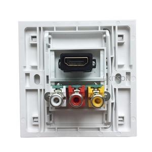 Image 2 - לבן צבע HDMI2.0 3RCA קיר פנל 86mm צלחת אודיו וידאו תקע שקע נקבה לנקבה RCA מחבר