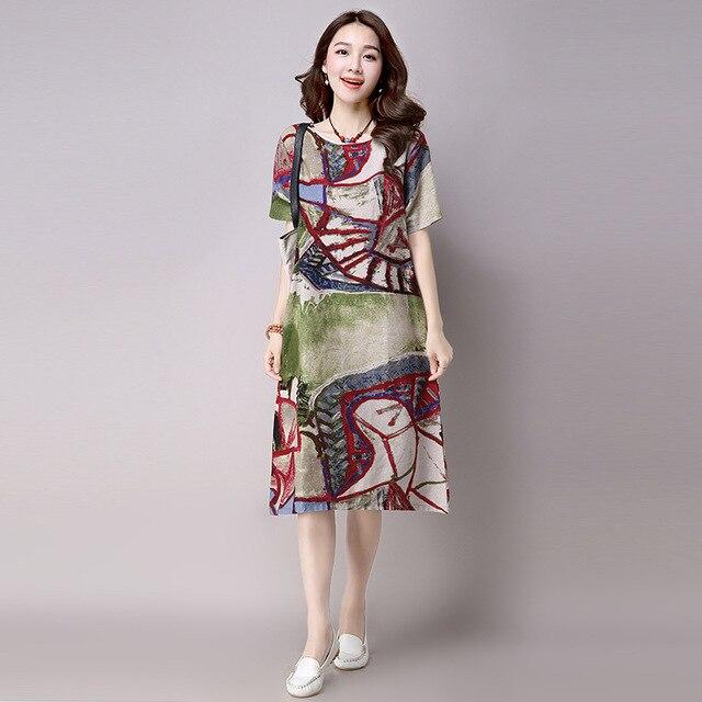 save off 4c35e 5462a US $26.26 |RAIMODEL estate 2017 fashion dress manica corta vestito lungo  colorato disegnare cotone stampato vestito casuale di stile cinese 050 in  ...