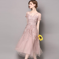 2018 Lente Zomer vrouwen roze jurk lady vrouwelijke fee gaas borduren bloem party elegante jurken topkwaliteit