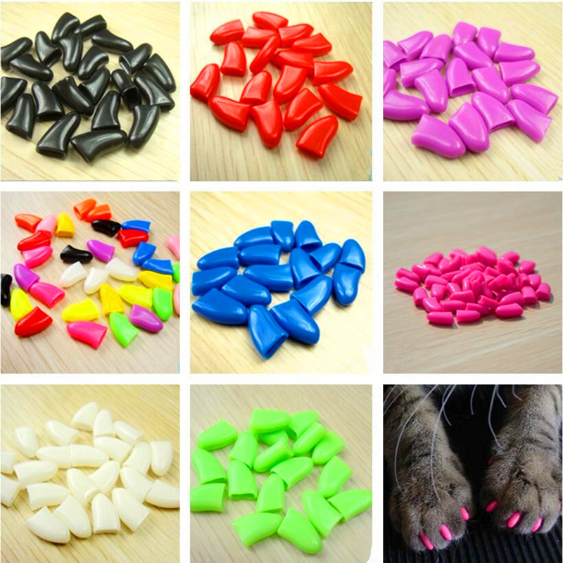 20pcs/bag Soft Cat Nail Caps / Cat Nail Cover / Paw caps / Pet Nail Protector with free Adhesive Glue Size XS S M L XL XXL
