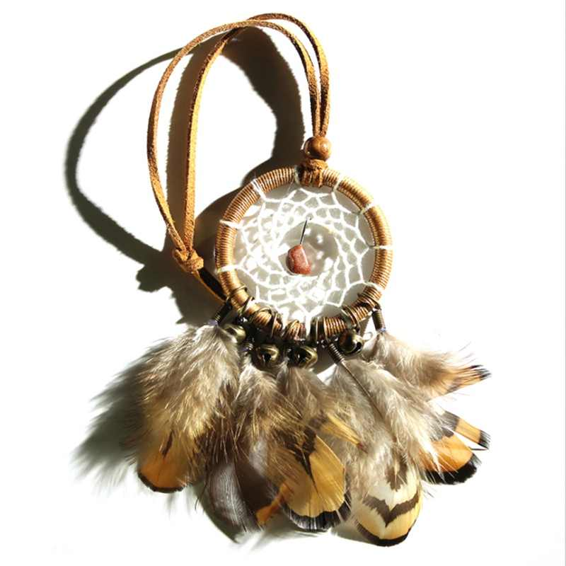 High Quality Dreamcatcher Wind Chimes Small Bronze Bells Car Pendant Home Decor Dream Catcher Regalo Wall Hanging 2018