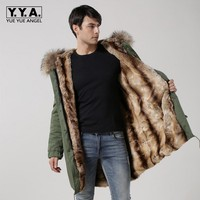 Top Brand Winter Thicken Fur Lining Mens Overcoat Real Fur Collar Hooded Jacket Army Long Coats Loose Fit High Quality Outerwear