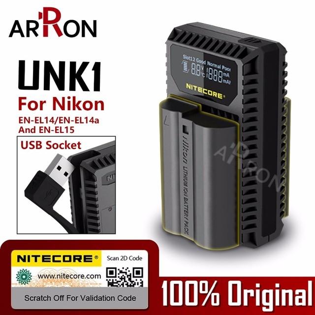 Nitecore UNK1 Digital USB cargador para Nikon batería EN-EL14 EN-EL14a EN-EL15 D750 D810 D610 D7100 D800 D800E D7000 D7200 D600