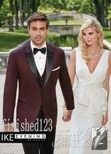 Fashionable One Button Burgundy Groom Tuxedos Groomsmen Men's Wedding Prom Suits Custom Made (Jacket+Pants+Vest+Tie) K:80