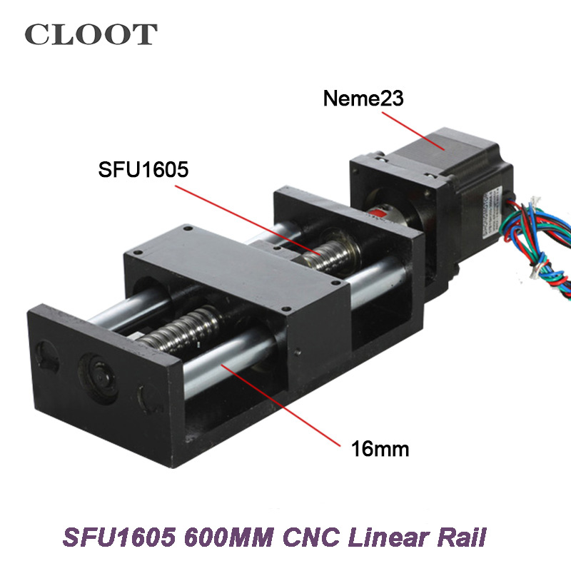 600MM CNC Linear Guide Rail SFU1605 Ball Screw Linear Mould Effective Stroke 600MM + Nema23 Stepper Motor Machine noulei ball screw 1605 800mm with sfu1605 ball nut for cnc linear guide rail sfu 1605
