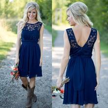 2017 New Navy Blue Chiffon And Lace Short Bridesmaid Dresses For Weddings Maid of the Honor Dresses Backless Knee Length  BD199