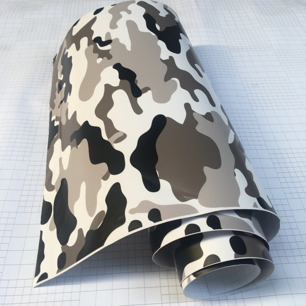 10/20/30/40/50/58x152CM/Lot Black/White Camo Vinyl Film Snow Camouflage Vinyl Car Wrap Air Bubble Free Snow Camo Wraps-in Car Stickers from Automobiles & Motorcycles