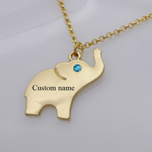 Cute Elephant Charm Necklace with Birthstone Personalized Names Or Letters Best Gift for Kids Drop Shipping Accepted YP2956