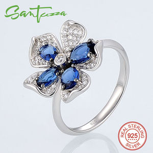 Image 2 - SANTUZZA Silver Flower Jewelry Set Bridal Wedding Blue CZ Stones Ring Earrings Pendant Set 925 Sterling Silver Fashion Jewelry