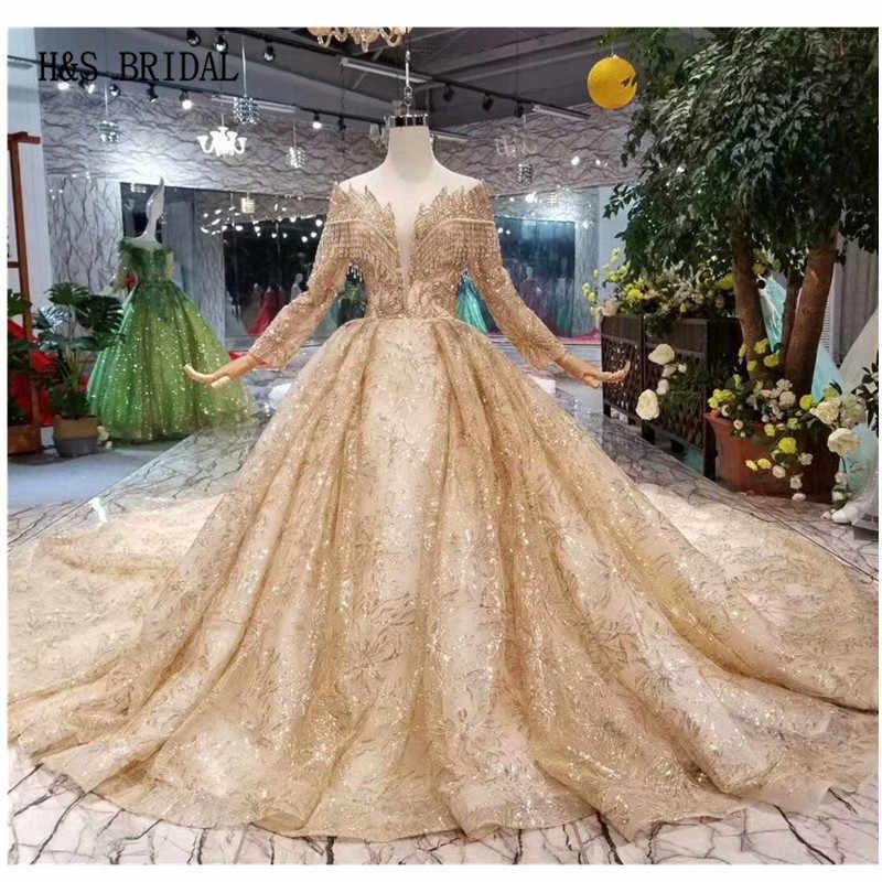 H S Bridal Gold Luxury Arabic Wedding Dress Ball Gown Lace Wedding