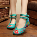 leisure Women shoes Red tailed peacock high-end embroidery shoes Hongyun slope to old Beijing at the bottom of Oxford