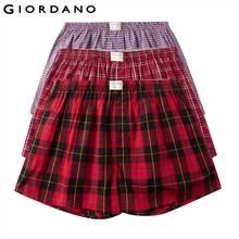 Giordano Erkek Boxer 3 pack Çok Renkli Boksörler Erkekler % 100% Pamuk Erkek Iç Çamaşırı Rahat Boxershorts Erkek Calzoncillo Hombre