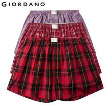 Giordano Men นักมวย 3 pack สีนักมวยชาย 100% ฝ้ายชายชุดชั้นในสบาย Boxershorts ชาย Calzoncillo Hombre