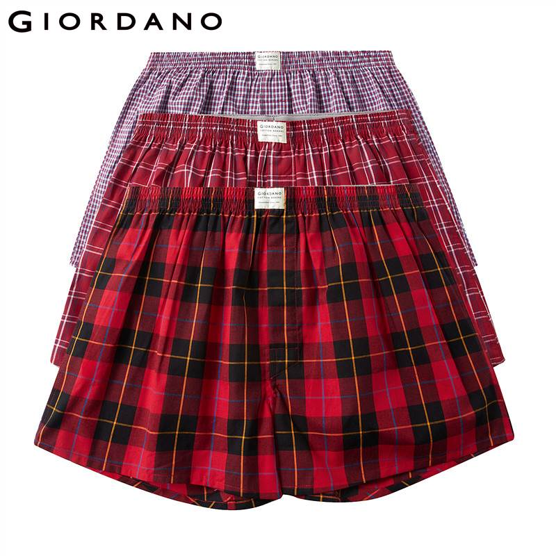 Giordano Men Boxer 3-pack Multi Color Boxers Men 100% Cotton Male Underwear Comfortable Boxershorts Men Calzoncillo Hombre
