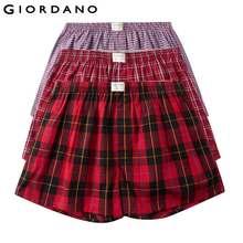 Giordano Erkek Boxer 3-pack Çok Renkli Boksörler Erkekler % 100% Pamuk Erkek Iç Çamaşırı Rahat Boxershorts Erkek Calzoncillo Hombre