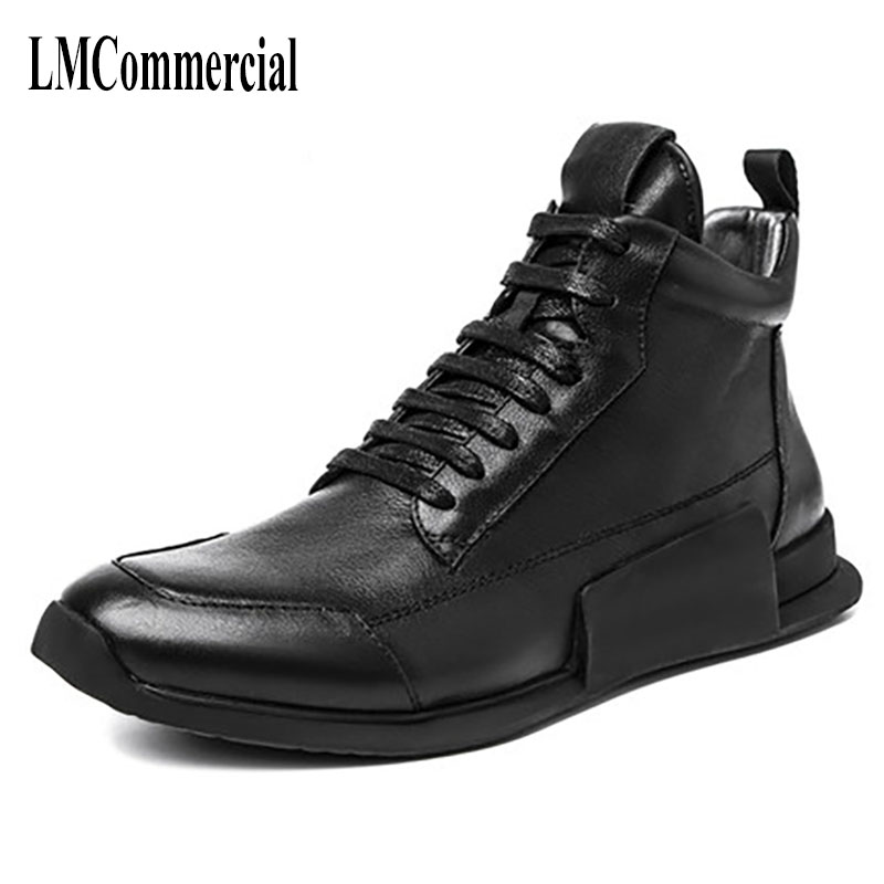 men Riding cashmere shoes Korean Retro Leather Casual boots new autumn winter British retro cowhide breathable