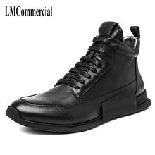 men Riding cashmere shoes Korean Retro Leather Casual boots new autumn winter British retro cowhide breathable sneaker boots