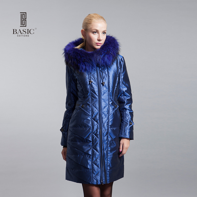 BASIC-EDITIONS Winter Long Fur Collar Down Coat White Duck Feather Womens Down Jacket - ZY10071